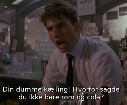 En frustreret Tom Cruise i filmen Cocktail (1988)